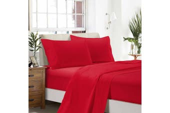 1000TC Ultra Soft Flat & Fitted Sheet Set - Super King Size Bed - Red
