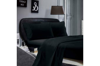 1000TC Ultra Soft Flat & Fitted Sheet Set - Super King Size Bed - Black