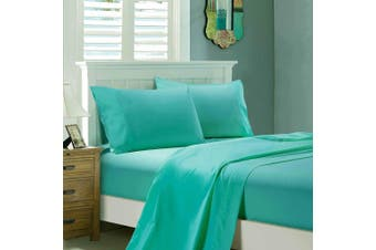 1000TC Ultra Soft Flat & Fitted Sheet Set - Super King Size Bed - Teal