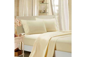 1000TC Ultra Soft Flat & Fitted Sheet Set - Super King Size Bed - Beige
