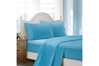 1000TC Ultra Soft Flat & Fitted Sheet Set - Super King Size Bed - Light Blue