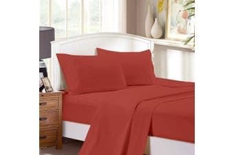 1000TC Ultra Soft Flat & Fitted Sheet Set - Super King Size Bed - Brick Red