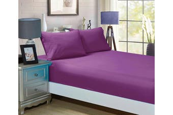 1000TC Ultra Soft Fitted Sheet & 2 Pillowcases Set - King Single Size Bed - Purple