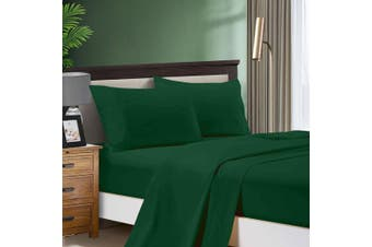 1000TC Ultra Soft Flat & Fitted Sheet Set - King Single Size Bed - Dark Green
