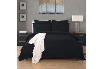 1000TC Tailored King Size Quilt/Doona/Duvet Cover Set - Black