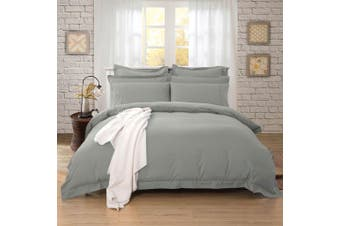 1000TC Tailored King Size Quilt/Doona/Duvet Cover Set - Grey