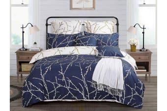 Tree Reversible Quilt/Doona/Duvet Cover Set(Double Size) - Blue M412