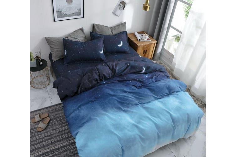 Night Blue Quilt Doona Duvet Cover Set, Super King Bedding Set Blue