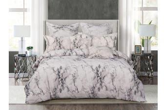 White Marble Quilt/Doona/Duvet Cover Set (Super King Size) M404