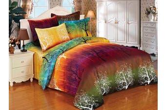 Rainbow Tree Quilt/Doona/Duvet Cover Set (King Single Size)