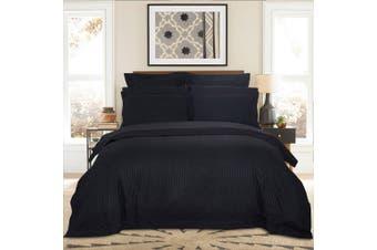 1000TC Ultra Soft Striped King Size Quilt/Doona/Duvet Cover Set - Black