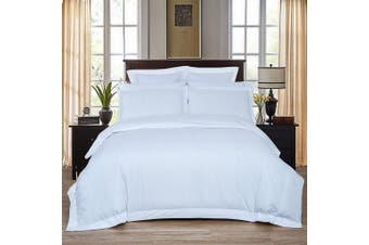 1000TC Ultra Soft Striped Queen Size Quilt/Doona/Duvet Cover Set - White