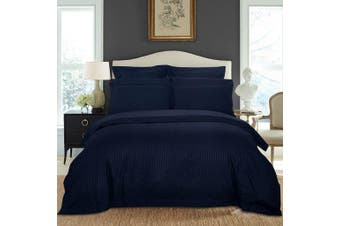 1000TC Ultra Soft Striped Queen Size Quilt/Doona/Duvet Cover Set - Midnight Blue