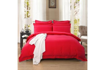 1000TC Tailored Queen Size Quilt/Doona/Duvet Cover Set - Red