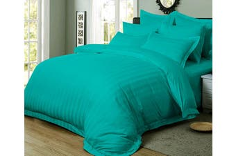 1000TC Ultra Soft Striped Queen Size Quilt/Doona/Duvet Cover Set - Teal