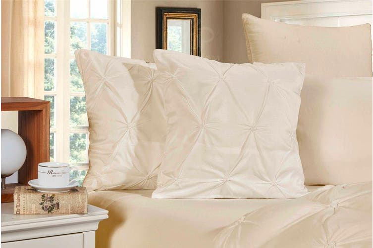 Diamond Pintuck Premium Ultra Soft Cushion Covers 2-Pack - Beige