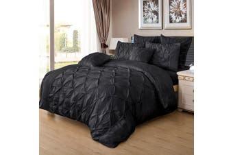 Diamond Pintuck Super King Size Quilt/Doona/Duvet Cover Set - Black