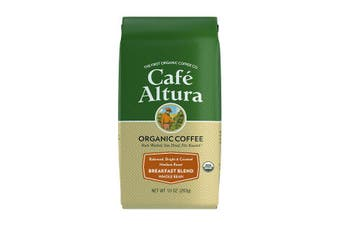 Cafe Altura, Organic Coffee, Breakfast Blend, Medium Roast, Whole Bean, 283 g