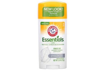 Arm & Hammer Essentials No Aluminium & Paraben Free with Natural Deodorizers Deodorant Clean Unscented 71g