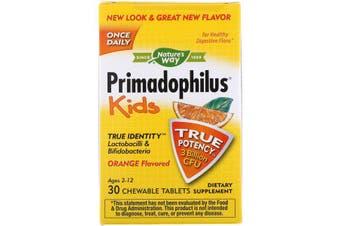 Nature's Way Primadophilus Kids Orange Flavoured 3 Billion CFU 30 Chewable Tablets