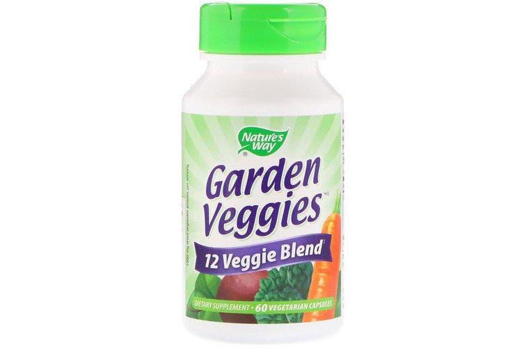 Nature's Way 12 Garden Veggies Blend Powder Broccoli Spinach Carrot Beet Pea Tomato Asparagus 60 Vegetarian Capsules