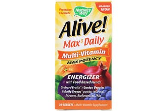 Nature's Way Alive Max3 Daily Multi-Vitamin No Added Iron Food Based Energizer 30 Tablets