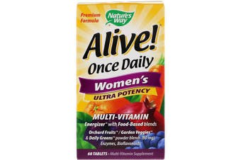 Nature's Way Alive Once Daily Women's Ultra Potency Multi-Vitamin Energizer 60 Tablets