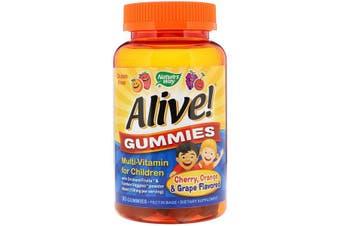 Nature's Way Alive! Gummies Multi-Vitamin for Children Cherry Orange & Grape Flavoured, 90 Gummies