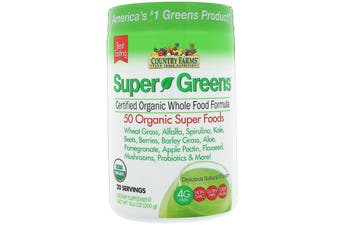 Country Farms, Super Greens, Certified Organic Whole Food Formula, Delicious Natural Flavor, 10.6 oz (300 g)