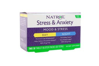 Natrol Stress & Anxiety Day & Night - 2x 30 Tablet Blister Packs (60 Total)