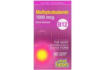 Natural Factors B12 Methylcobalamin - 1000mcg, 90 Chewable Tablets