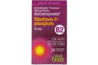 Natural Factors BioCoenzymated B2 Riboflavin 5'-Phosphate - 50mg, 30 Vegetarian Capsules