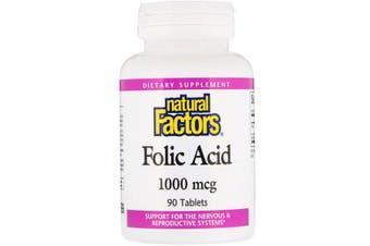 Natural Factors Folic Acid - 1,000mcg, 90 Tablets