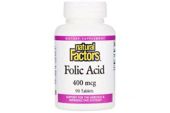 Natural Factors Folic Acid - 400mcg, 90 Tablets