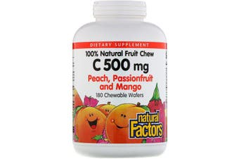 Natural Factors 100% Natural Fruit Chew C Peach, Passionfruit and Mango Flavour - 500mg, 180 Chewable Wafers