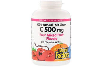 Natural Factors 100% Natural Fruit Chew C Four Mixed Fruit Flavours - 500mg, 180 Chewable Wafers