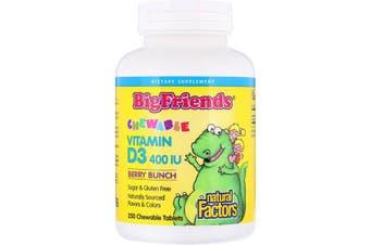 Natural Factors Big Friends Chewable Vitamin D3 Berry Bunch - 400 IU, 250 Chewable Tablets