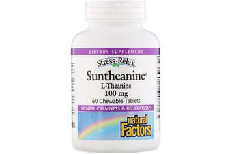 Natural Factors Stress-Relax Suntheanine L-Theanine 100mg, 60 Chewable Tablets