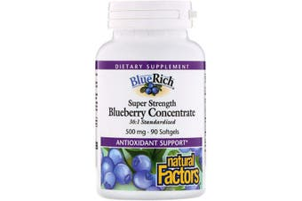Natural Factors BlueRich Super Strength Blueberry Concentrate - 500mg, 90 Softgels