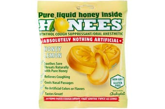 Honees Menthol Cough Suppressant Oral Anaesthetic Natural Drops Liquid Honey Lemon 20 Lozenge Drops