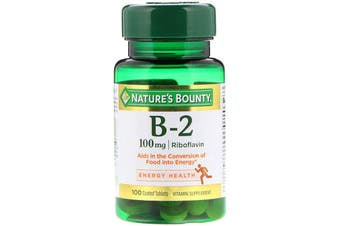Nature's Bounty Vitamin B-2 100mg - 100 Coated Tablets