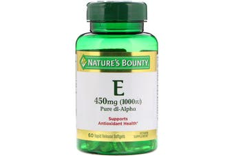 Nature's Bounty Vitamin E Pure Dl-Alpha 450mg 1,000 IU - 60 Rapid Release Softgels