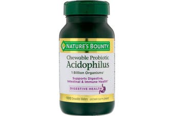 Nature's Bounty Chewable Probiotic Acidophilus Natural Strawberry Flavor - 100 Chewable Wafers