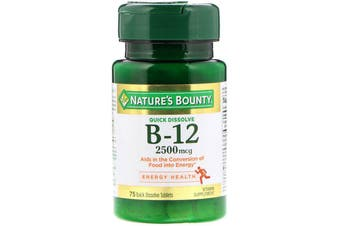 Nature's Bounty B-12 Natural Cherry Flavor 2,500 mcg - 75 Quick Dissolve Tablets