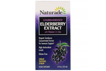 Naturade Standardized Elderberry Extract Syrup Organic Sambucus Concentrate Immune Support + Vitamin C & Zinc 125ml
