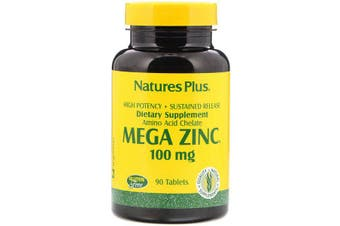 Nature's Plus Mega Zinc Soy Amino Acid Chelate Sustained Release - 100mg, 90 Tablets