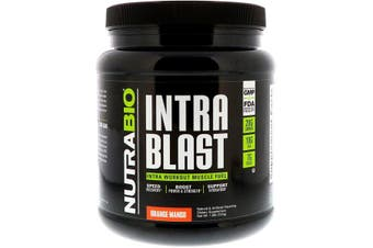 NutraBio Labs Intra Blast Workout Muscle Fuel Power Strength Hydration & Recovery - Orange Mango, 724g