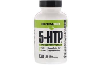 NutraBio Labs 5-HTP 5 Hydroxytryptophan + Vitamin B6 Mood & Sleep Support - 200mg, 90 Capsules