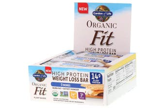 Garden of Life, Organic Fit, High Protein Weight Loss Bar, S'Mores, 12 Bars, 1.9 oz (55 g) Each