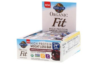 Garden of Life, Organic Fit, High Protein Weight Loss Bar, Chocolate Covered Cherry, 12 Bars, 1.9 oz (55 g) Each